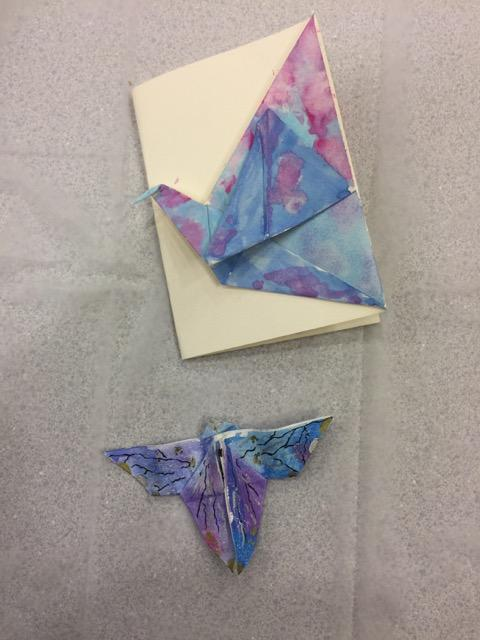 A different look achieved by painting the crane part of the all-in-one card.. and a completed butterfly